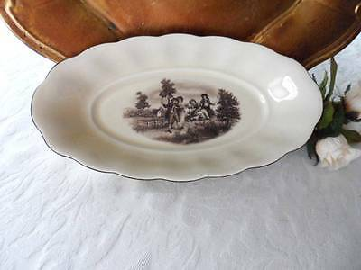 Oval Relish Dish: German China Erphila Brown Pastoral Scene -Ebeling Reuss