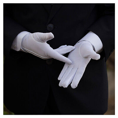 10 Pairs Mens White Formal Gloves Tuxedo Honor Guard Parade Santa Inspection