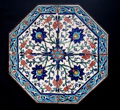 Antique Islamic Hexagon Pottery Tile Panel - Iznik Kutahya