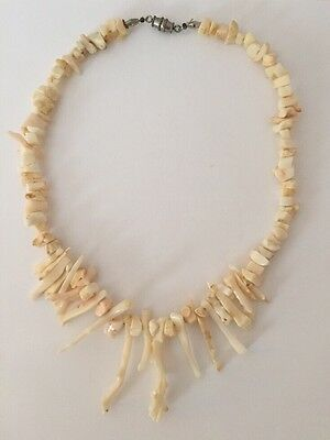 """White Natural Coral Branch Necklace 15 1/2"""" Vintage"""
