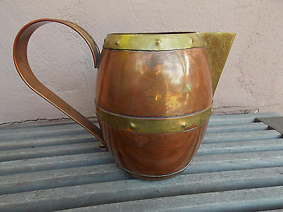 Vintage Mexican Copper Brass Banded PITCHER Mexico Hector Aguilar style
