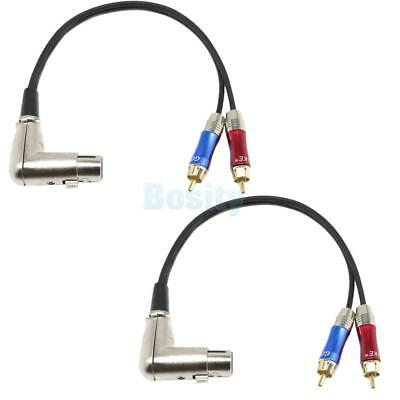 2x 90° 3 Pin Female XLR to Dual RCA Male Y Splitter Patch Cable Audio Cable
