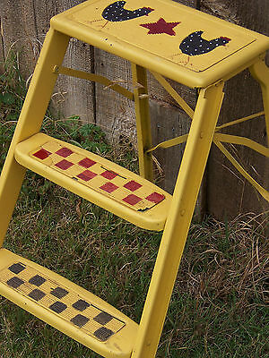 Vintage Metal Yellow Hp Gingham Rustic Step Ladder Primitive Country Kitchen