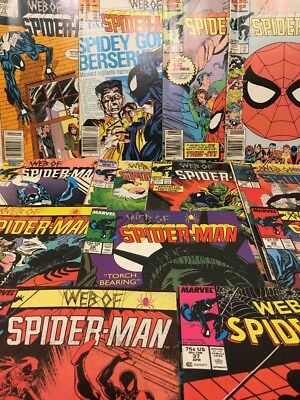 Vintage Marvel Comics Web Of Spiderman, Large Lot Of 13 Comics, Fine