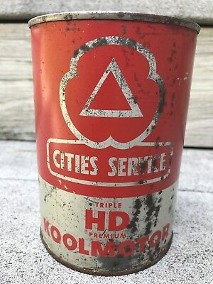 Cities Service Triple Hd Premium Koolmotor Oil One Quart Metal Can Full