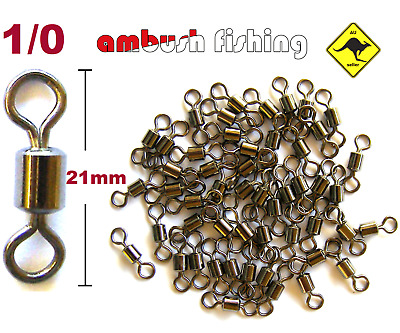 50 ROLLING FISHING SWIVELS SIZE 1/0 Test 60kg black nickel FISHING TACKLE BULK