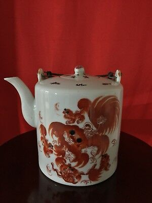 Chinese antique rare porcelain Teapot with handle Qing Tongzhi hand made USA