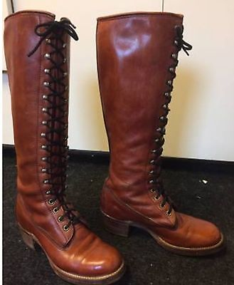 FRYE vintage 70s Ladies Lace Up Boots FREE POSTAGE USA AND CANADA