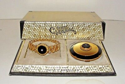 D F Briggs Carmen Stretch Bracelet & Matching Dual Compact Powder Rouge in Box