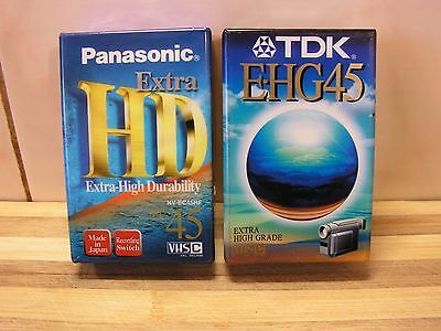 2 x VHSC Blank Camcorder 45 Min Tapes, Panasonic & TDK, Brand New & Sealed