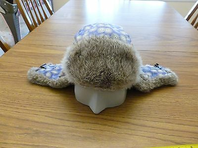 MAD BOMBER Flowers Aviator Trapper Hat W/ Rabbit Fur Trim Size Small Excellent