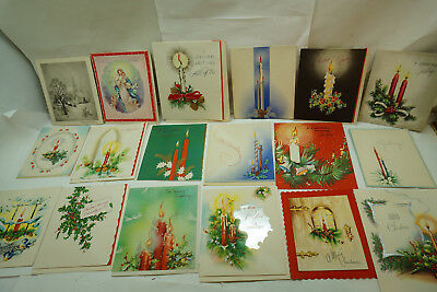 VINTAGE CHRISTMAS CARDS UNUSED LOT 18 1950s TEDDY BEAR COW CANDY CANE XMAS 1h