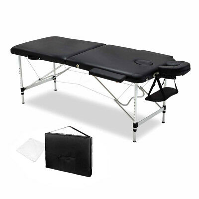 NEW Portable Extra Wide 75cm Professional Aluminium Frame Massage Table - Black