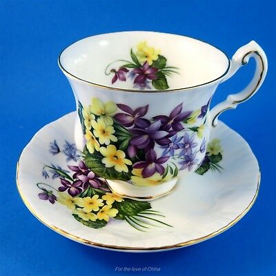 Pretty Purple Yellow and Blue Flower Festival Paragon Tea Cup and Saucer Set