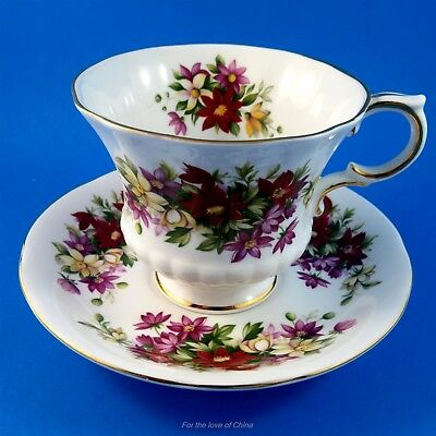 Pretty Purple Reds and Yellows Flower Festival Paragon Tea Cup and Saucer Set