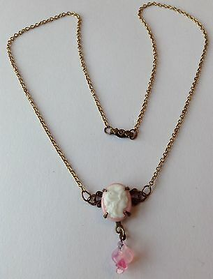 Vintage Pink And White Cameo Pendant Necklace