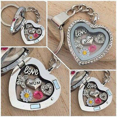 Personalised heart locket keyring gift for mum sister nan Birthday Xmas gifts 5