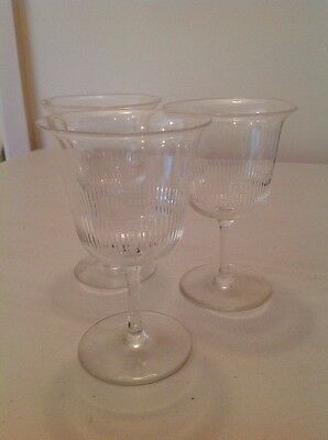 3 Vintage Etched Liqueur Glasses
