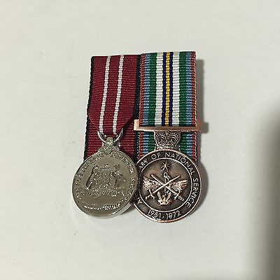 Aust. Defence & Anniversary of National Service Medals Replica Mini Size Set.