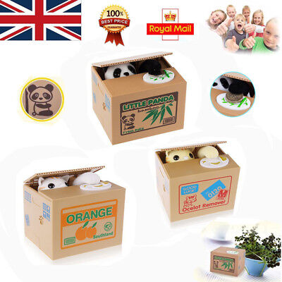 Creative Panda Piggy Bank Steal Money Coin Saving Box Cat Pot Case Storage Kids