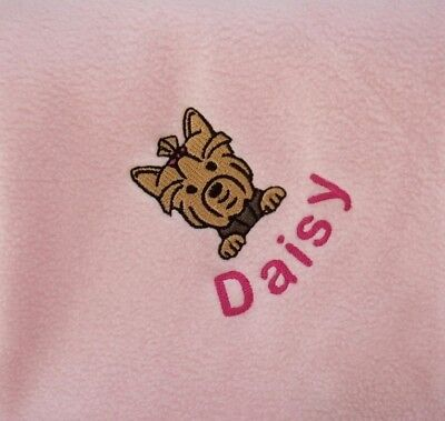YORKSHIRE TERRIER Personalised Embroidered Fleece Dog Blanket -16 Colours