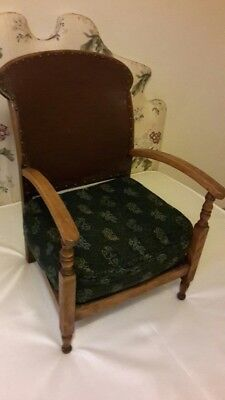 Antique Nursing Chair, Oak And leather With Arms And Cushion