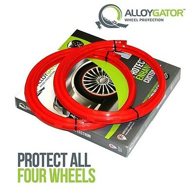 "Alloygator Alloy Wheel Rim Protection Band System Set Of 4 In Red 22"" 23"" 24"""