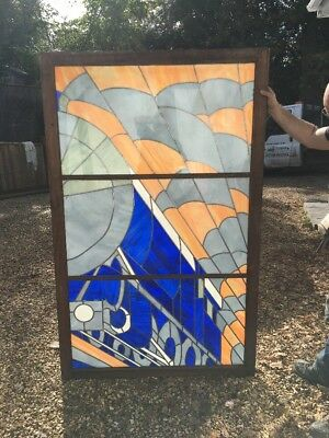 Large Art Deco Stained Glass Window Antique Period Reclaimed Railway Trains Pub-
