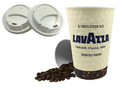 12oz Lavazza Double Walled Paper Wall Disposable Cups & Sip Through WHITE Lids