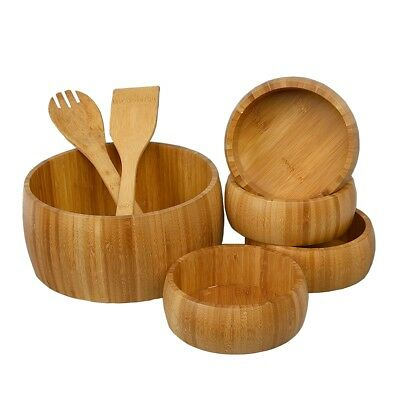 7 Piece Bamboo Wooden Salad Pasta Mixing Servig Bowl With Serving Hands