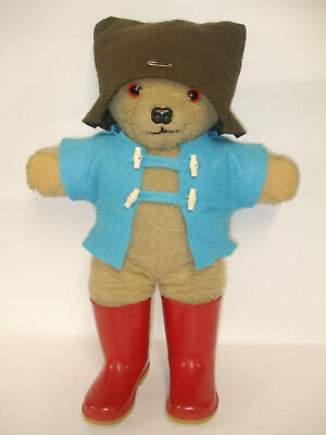 Vintage Paddington Bear In Red Dunlop Wellington Boots Blue Coat And Brown Hat
