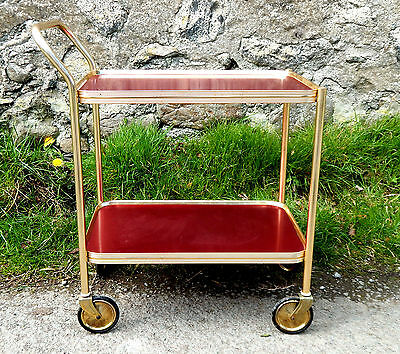 Vintage Retro 1950s Hostess Serving Tea Trolley Two Tier Red - Mid Century  #2