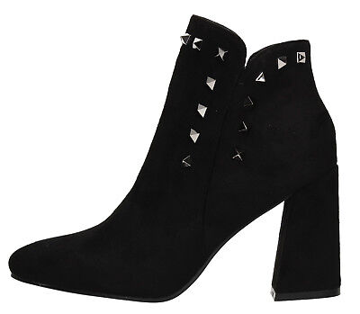 New Womens Faux Suede Stud Block Heel Ankle Boots Classic Black Shoes UK 3-8