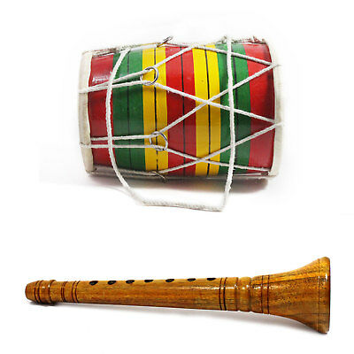 Handmade Indian Folk Musical Instruments Wooden Kids Playing Shehnai and Dholak