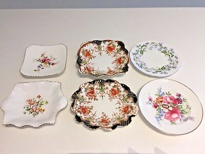 6 Pretty VINTAGE Bone China PIN TRINKET DISHES Shelley Wellington Royal Adderley