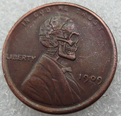 1909 Hobo Lincoln Wheat Penny. Skull