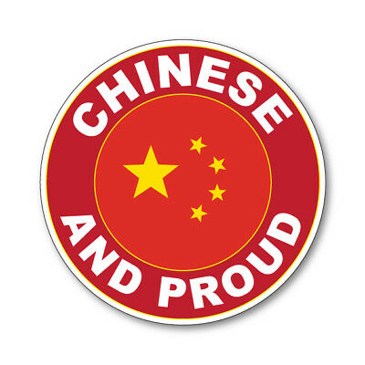 2 x CHINESE AND PROUD - Flag Car Van Lorry vinyl Self Adhesive stickers