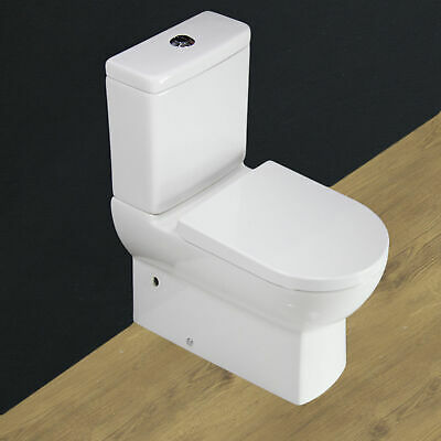 Toilet WC Bathroom Close Coupled Ceramic Cloakroom White Soft Close Seat T8NN