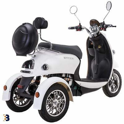 3 Wheeled Retro ELECTRIC MOBILITY SCOOTER 60V 100AH 500W up to 20 mph White