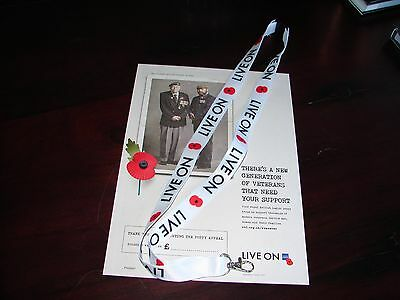 NEW Royal British Legion Poppy Lanyard with 'Live On' motto NAVY BLUE only left.