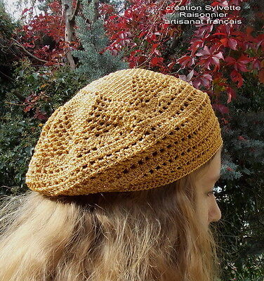 Beret  Chapeau Crochet Main Artisanat Francais  Lurex Or Creation S Raisonnier