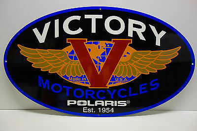 "VICTORY MOTORCYCLES DEALERSHIP LIMITED DIE CUT RARE ENAMEL SIGN 17.5""x30"""