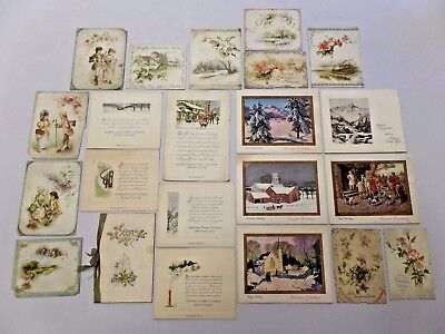 Vintage Large Lot of Christmas Cards and Victorian Die Cut Cards 22 Pieces