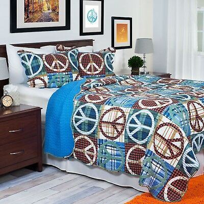 Lavish Home 2 Piece Peace Quilt Set Twin Brown Blue Free Delivery Brand New