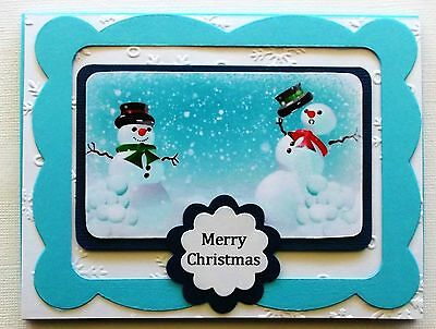 CARD PACK X 1 LOVELY PRINTED CHRISTMAS SNOWMEN TOPPER & CARD with sentiment