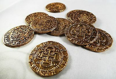 Superb Job Lot 10 Spanish Gold Doubloons - Coins/Pirates/Treasure/Spanish/Gift