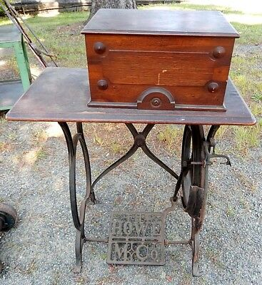 Exceptional 1871 HOWE Walnut Mother Pearl Antique Sewing Machine & Cabinet SALE!