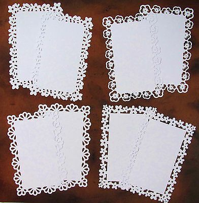 "CARD MAKING TOPPERS X 8 VARIOUS EDGES: WHITE FOR 6"" x 4"" CARDS"
