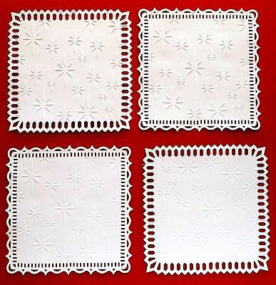 "WHITE CARD TOPPERS WITH CHRISTMAS STAR X 4 MAKE CLASSY CHRISTMAS CARDS 5"" square"