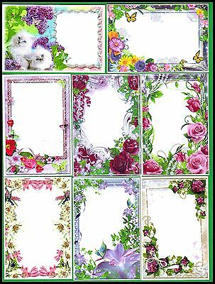 New - Stunning Printed Mixed Floral Card Toppers X 8